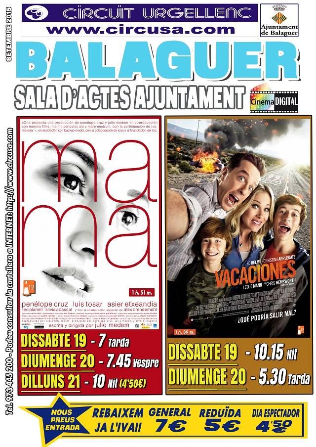 CINEMA SETEMBRE 19, 20 i 21 - Ma Ma - VACACIONES