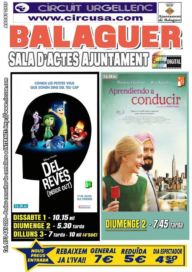 CINEMA AGOST 1, 2 i 3 - DEL REVÉS (inside out) - APRENDIENDO A CONDUCIR