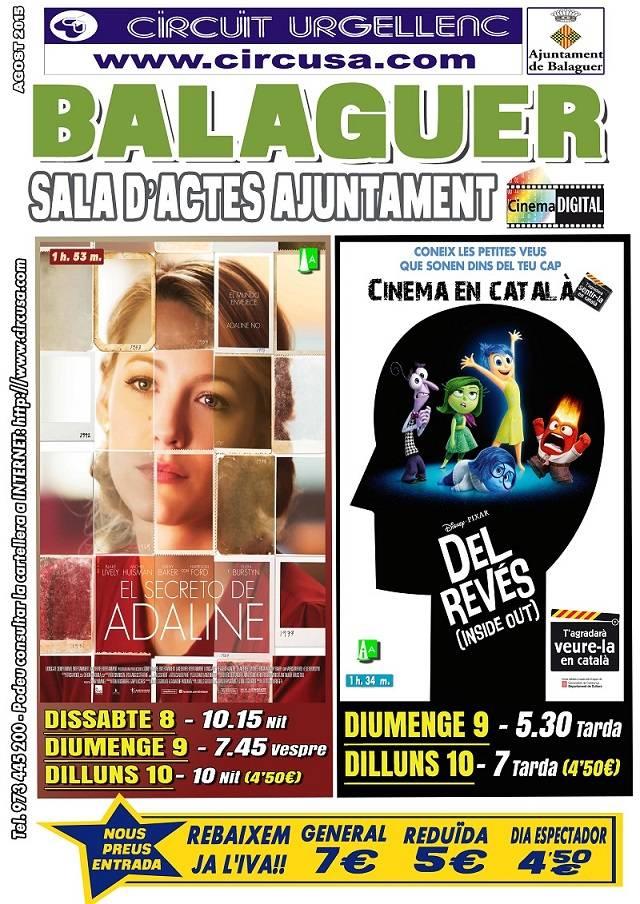CINE AGOSTO 8, 9 y 10 - EL SECRETO DE ADALINE - DEL REVÉS (inside out)