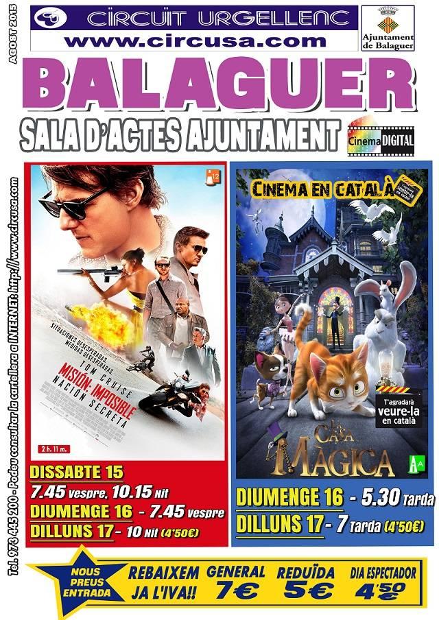 CINEMA AGOST 15, 16 i 17  MISIÓN IMPOSIBLE 5 - LA CASA MÁGICA