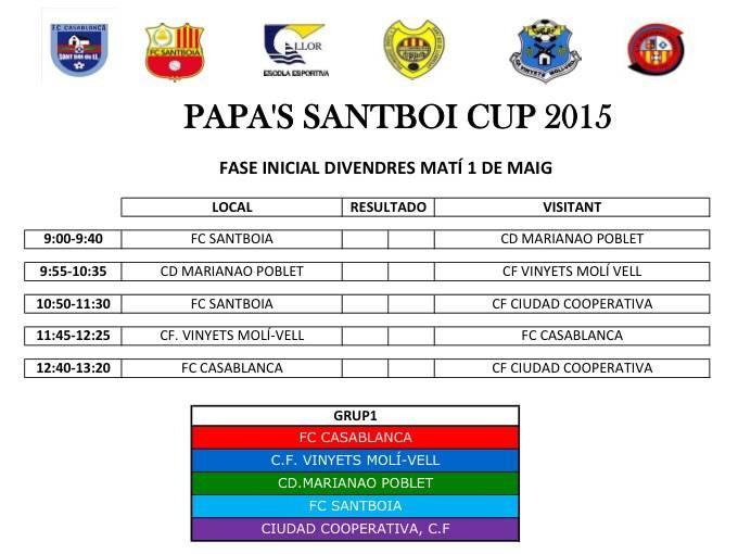 Canvi horaris Papa 's Cup.