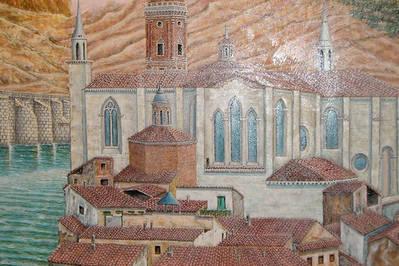 Detalle mural en Hotel NH Delta de Tudela, Navarra