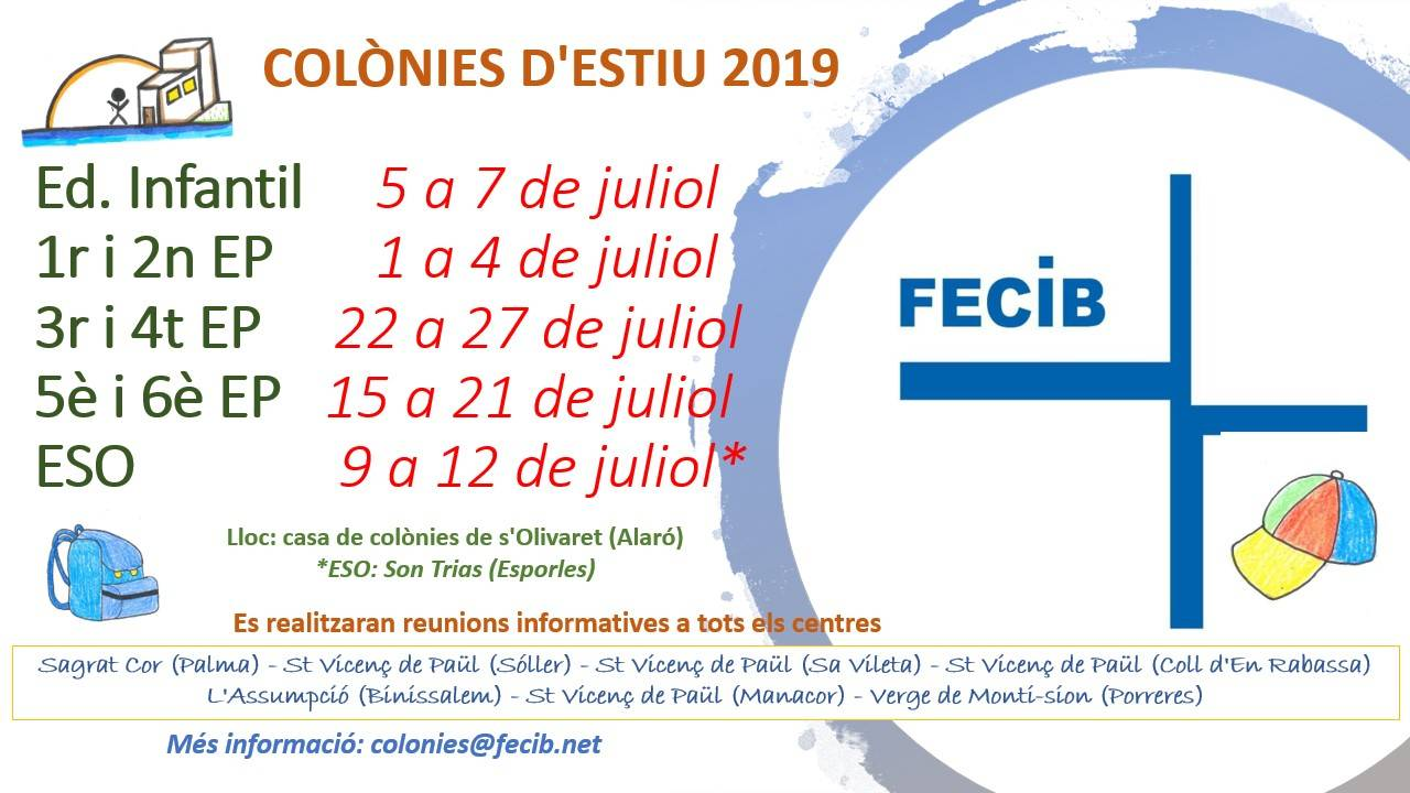 COLÒNIES D'ESTIU 2019