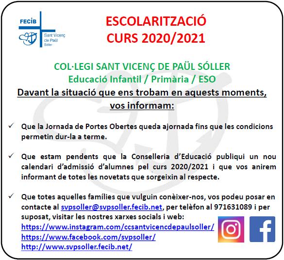 ESCOLARITZACIÓ CURS 2020-2021