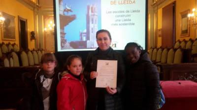 Representants de l'escola Torre Queralt en l'acte Agenda 21 Escolar de Lleida