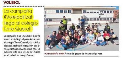 La campanya #Voleibolitzat arriba a l'escola torre Queralt