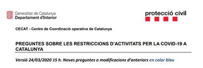 Noves restriccions de mobilitat del 24/03/2020