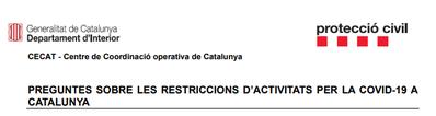 Aclariments sobre  restriccions d'activitats - FASE 1 (18-5-2020)