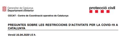 Actualització restriccions de mobilitat
