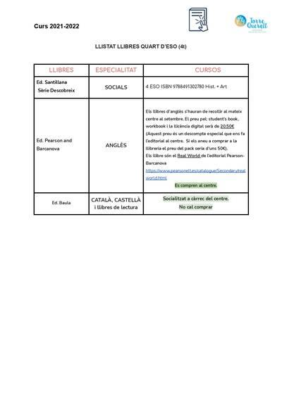 LLIBRES 4t ESO - CURS 2021-22