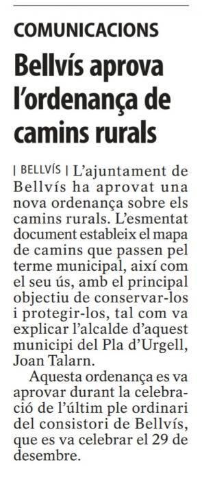 Ordenança municipal d'ús, conservació i protecció dels camins rurals de Bellvís