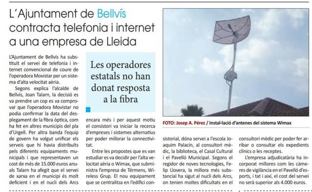 La premsa recull el nou contracte de telefonia de l'Ajuntament i el servei d'alta velocitat aèria per als veïns de Bellvís i els Arcs