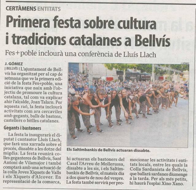 FestPoble i la xerrada de Lluís Llach a Bellvís avui a la premsa