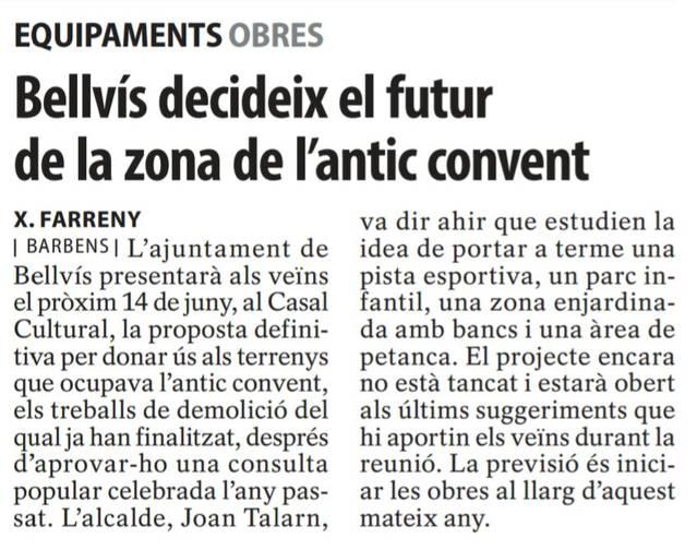 Informació a la premsa sobre el Parc de les Monges