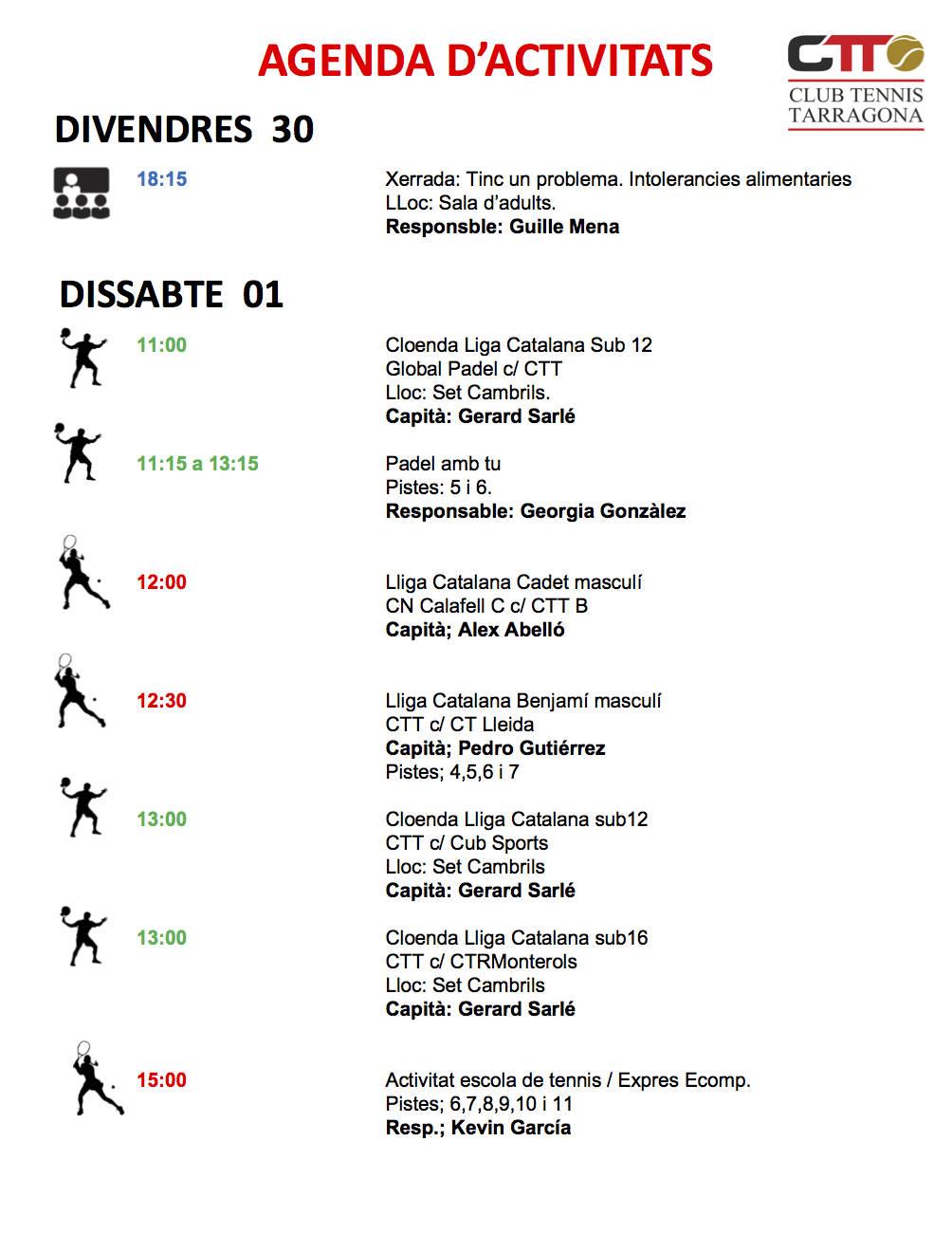 Agenda del cap de setmana del 30 de novembre, 1 i 2 de desembre