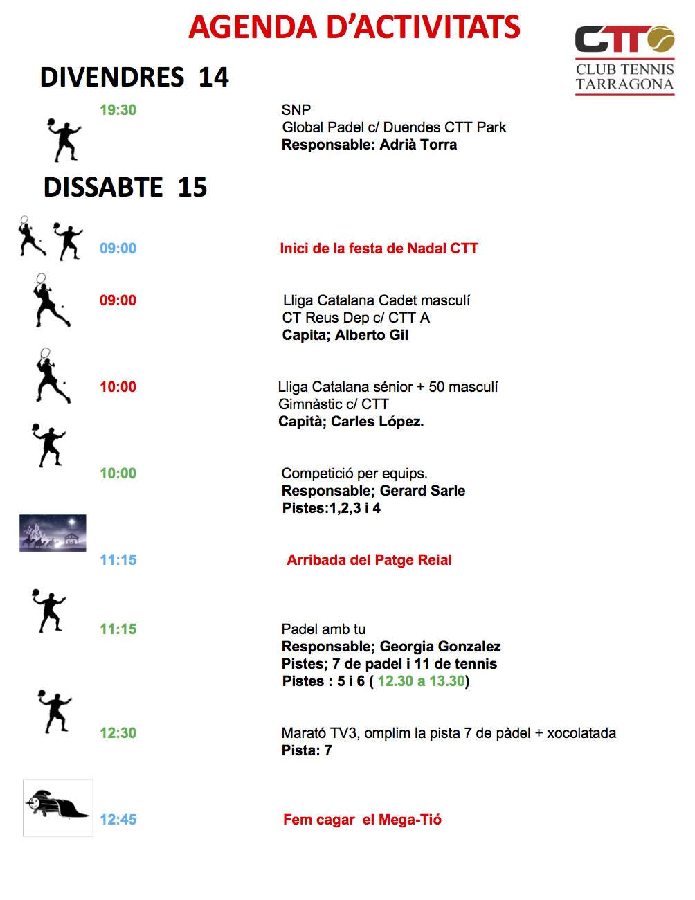 Agenda del cap de setmana del 15 i 16 de desembre