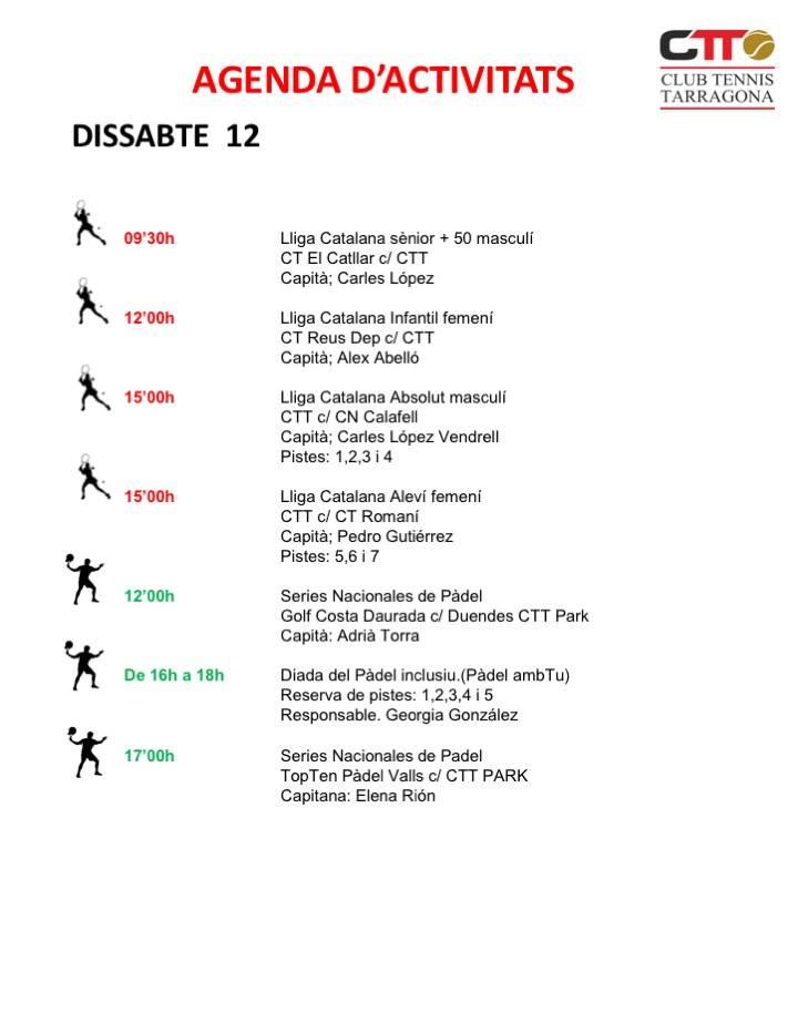 Agenda del cap de setmana del 12 i 13 de gener