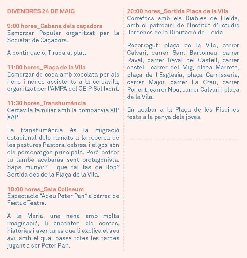 Actes de la Festa Major: Divendres 24
