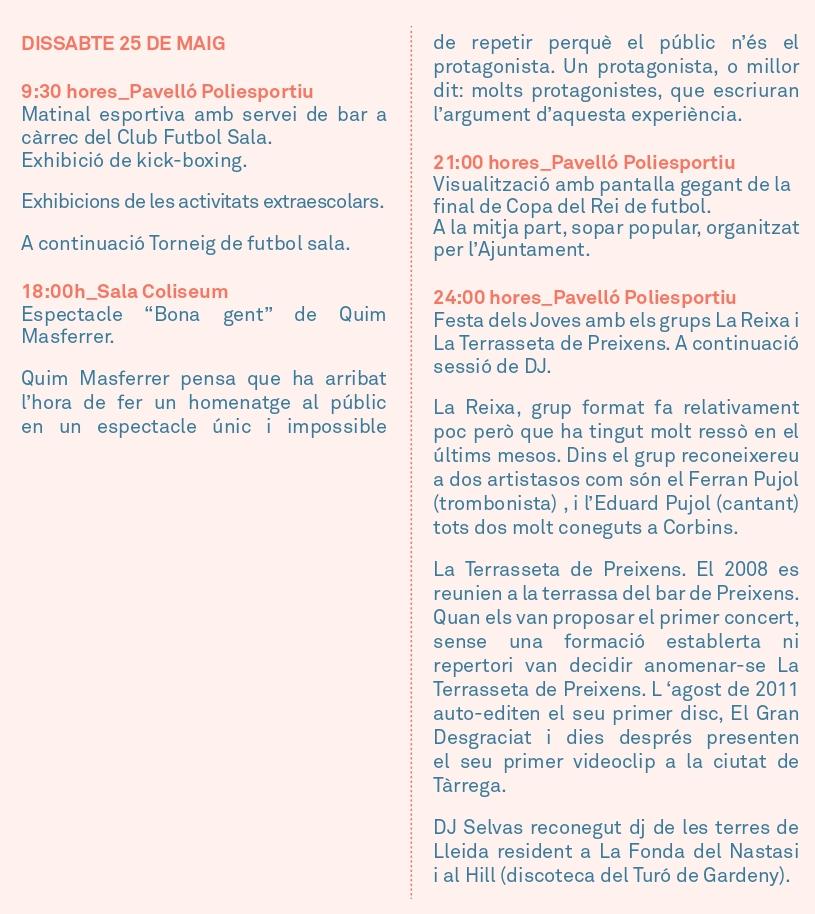 Actes de la Festa Major: Dissabte 25