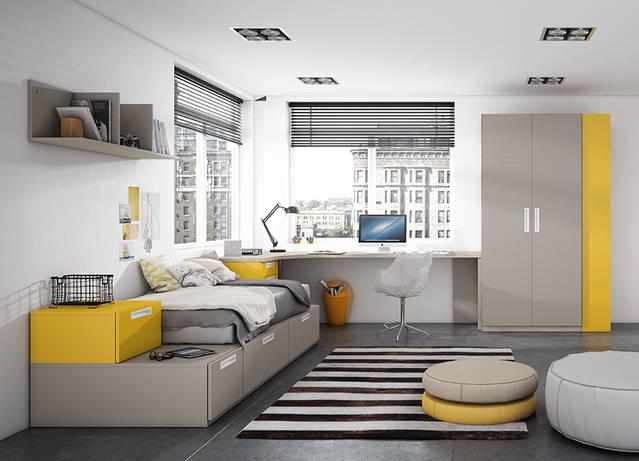 Dormitori amb llit en sistema block, estant, escriptori i armari. Preu: 2.085€