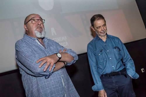 """<p style=""""font-weight: 400;"""">Juan Ferrer y Jos&eacute; Luis Alcaine durante la masterclass. Foto: Oriol C&aacute;rceles.</p>"""