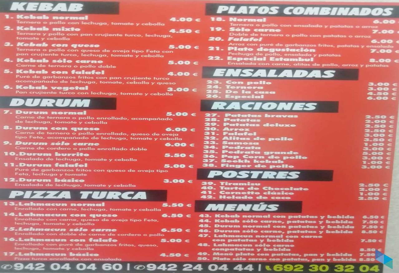 """Kebab solo carne + patatas + bebida"" Kebab Floranes"