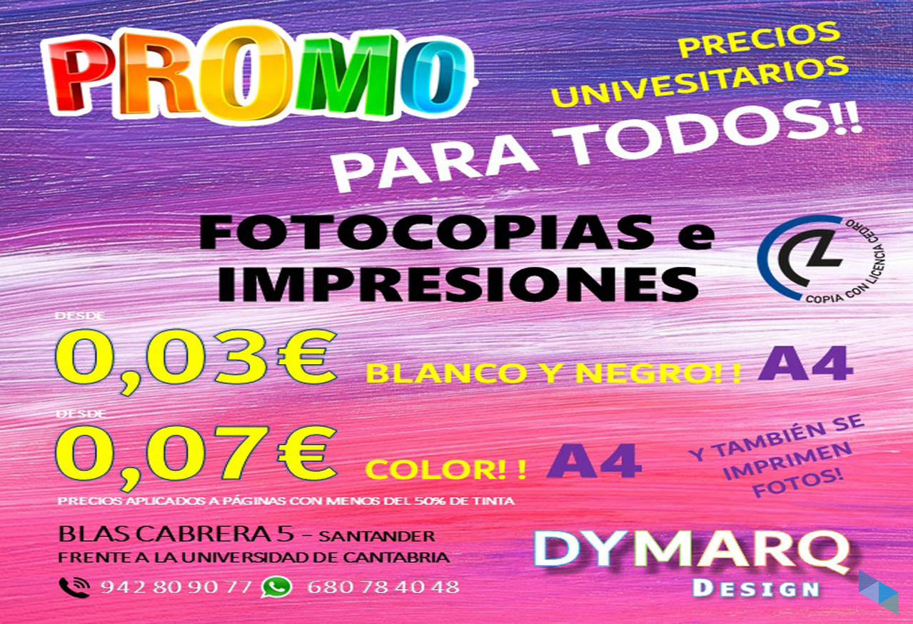 """""""Photocopies and prints at university price for ALL"""" Dymarq Design"""