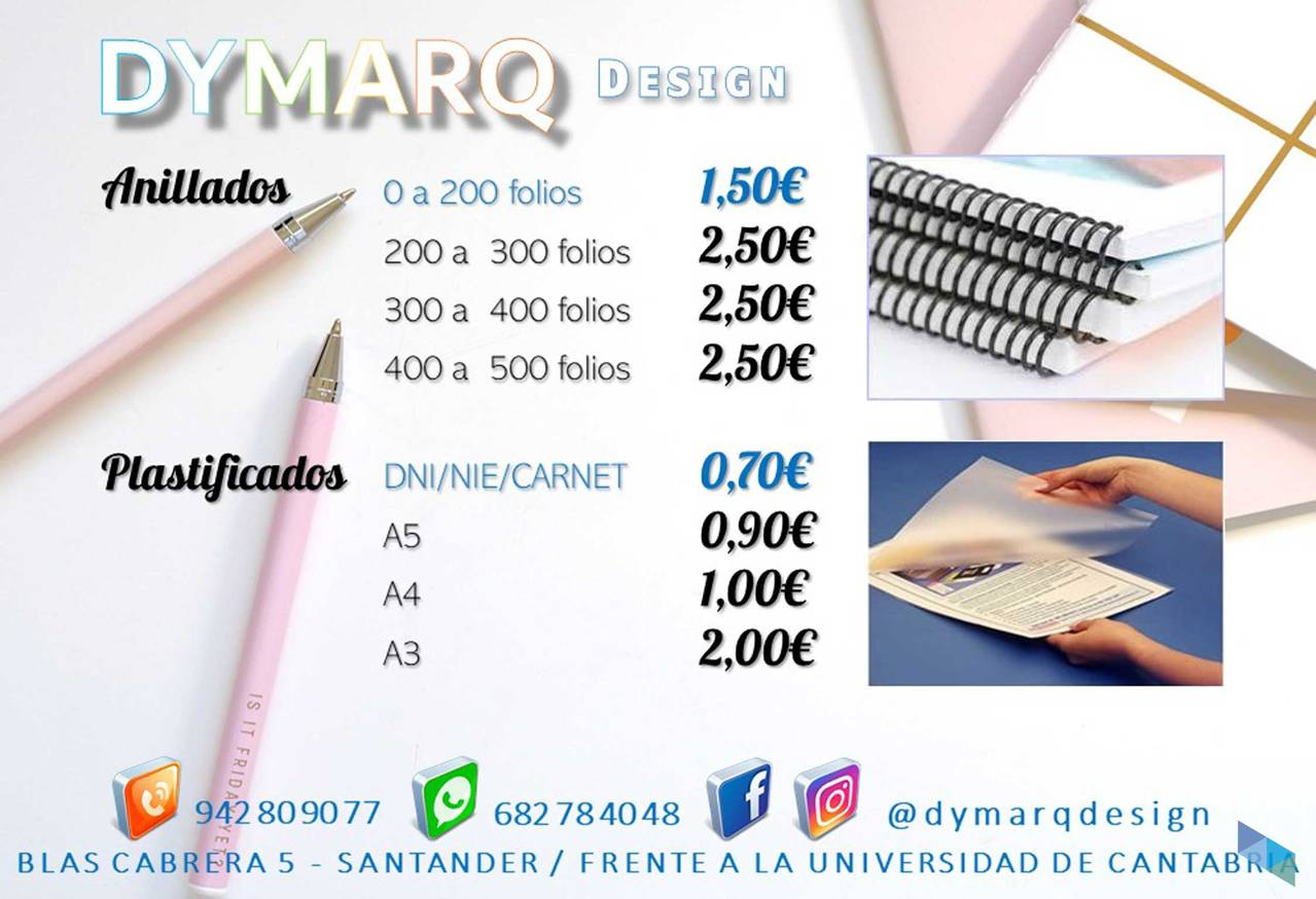 """Plasticized and ringed at the best price"" Dymarq Design"