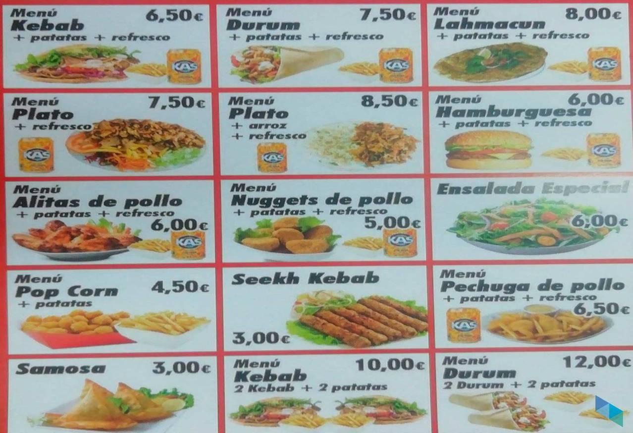 """""""Menú kebab + patatas + refresco"""" Kebab Floranes"""