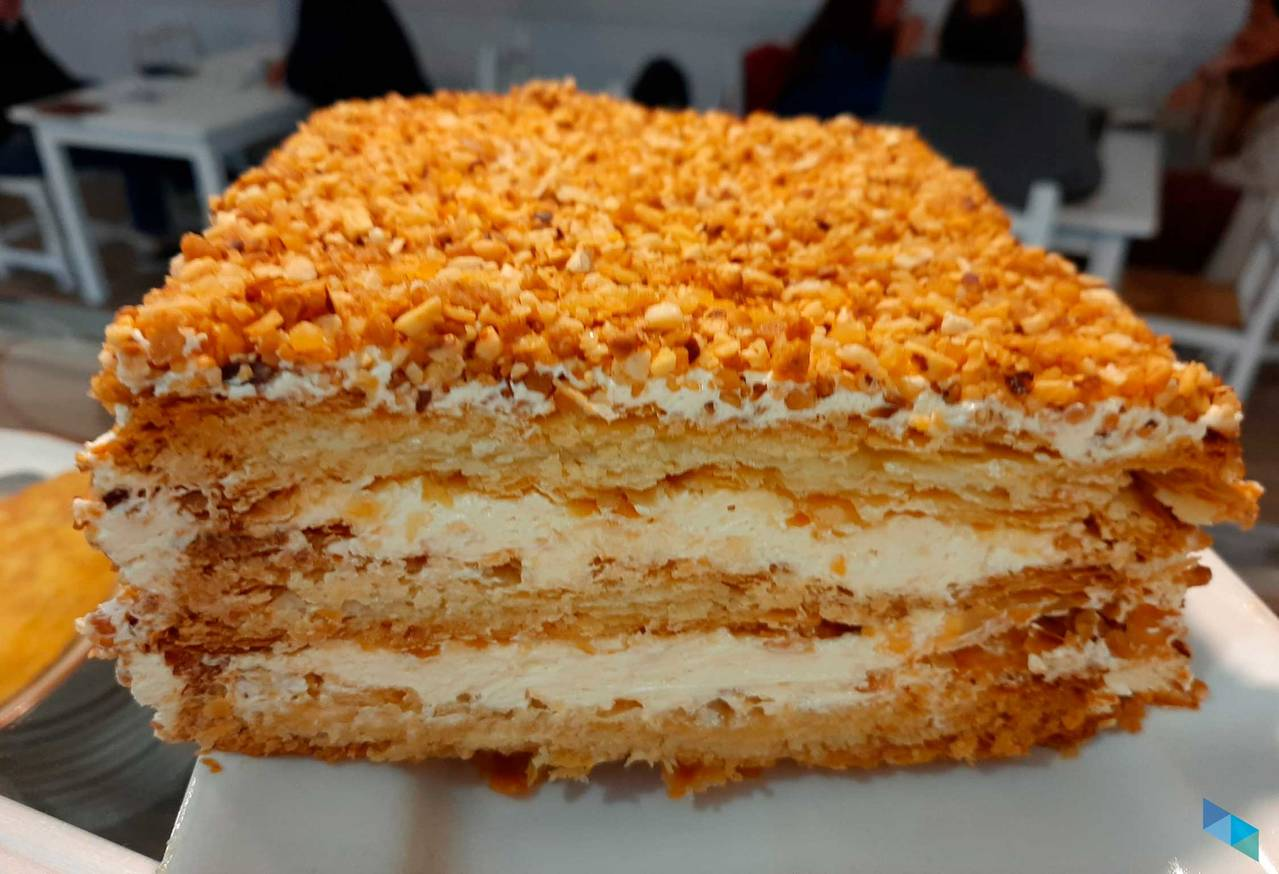 """""""Enjoy our delicious puff pastry cake"""" Tal Cual Restaurant"""
