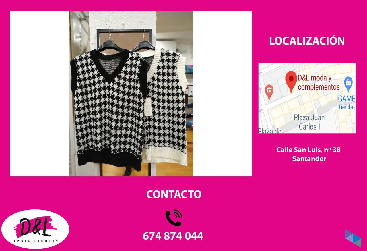 """Houndstooth and plain vests"" D&L Moda"