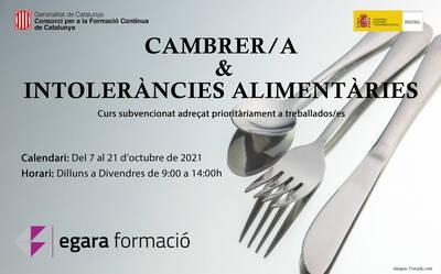 CAMBRER/A & INTOLERÀNCIES ALIMENTÀRIES (SUBVENCIONAT)