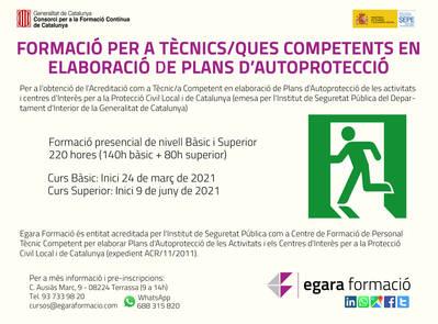 FORMACIÓ PER A TÈCNICS/QUES COMPETENTS EN ELABORACIÓ DE PLANS D'AUTOPROTECCIÓ (Nivell Superior)