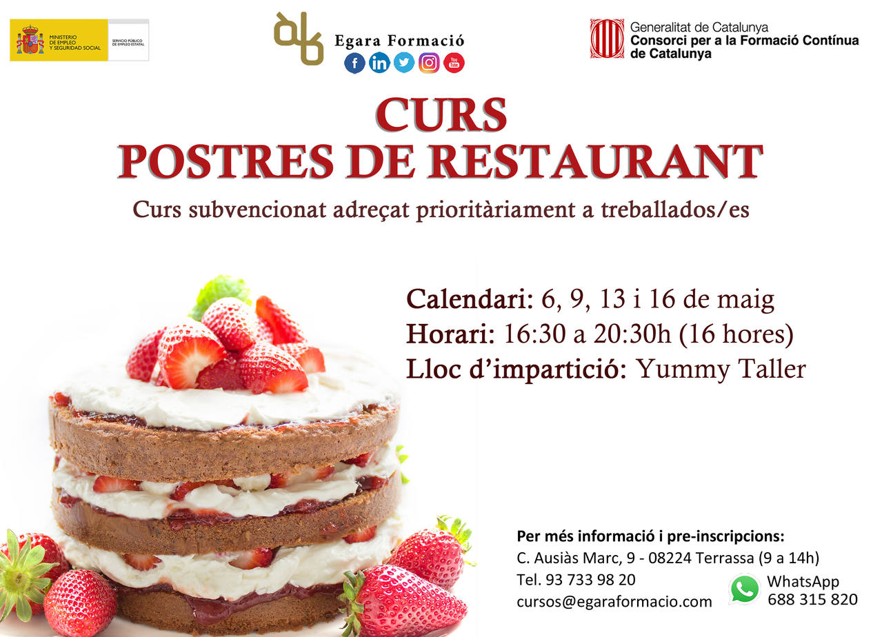 POSTRES DE RESTAURANT (SUBVENCIONAT)