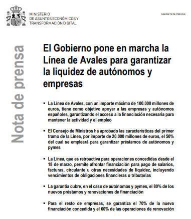 El Gobierno pone en marcha la Línea de Avales para garantizar la liquidez de autónomos y empresas