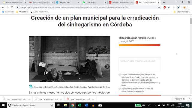 Ganemos en Común Córdoba pide hechos ante la adhesión de Servicios Sociales a sus demandas contra el Sinhogarismo