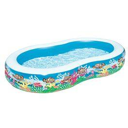 Piscina inflable familiar 2 anillos inflables fondo mar 262 x 157 x 46 cm.