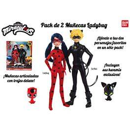 Pack 2 muñecas ladybug (ladybug y cat noir)