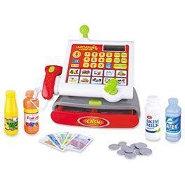 Registradora con luz y sonido, función calculadora y accesorios