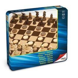 Escacs Dames de fusta metall box