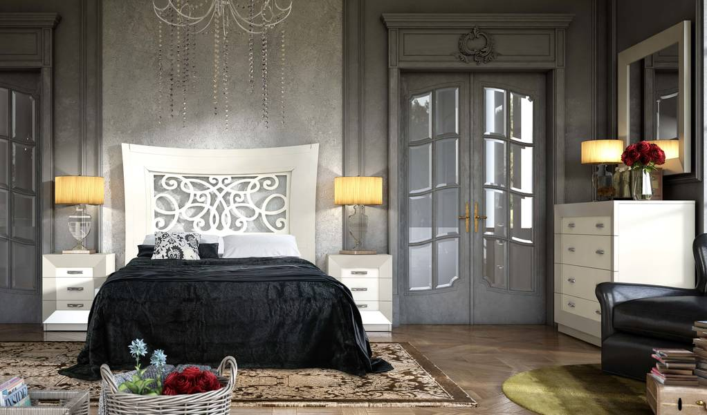 Dormitorio con cabezal calado