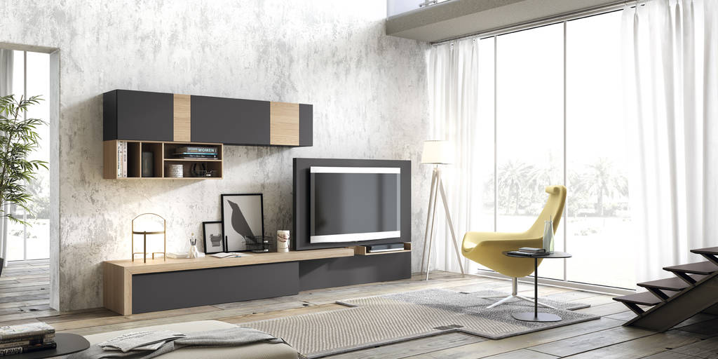 Composició amb panell tv giratori