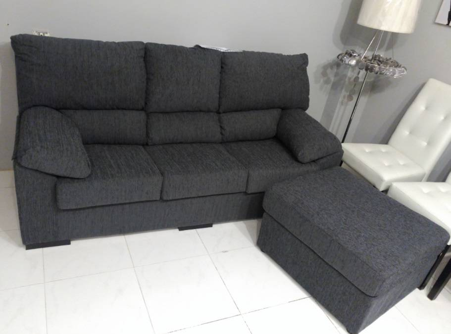 Sofá 3 plazas con puff chaise longue