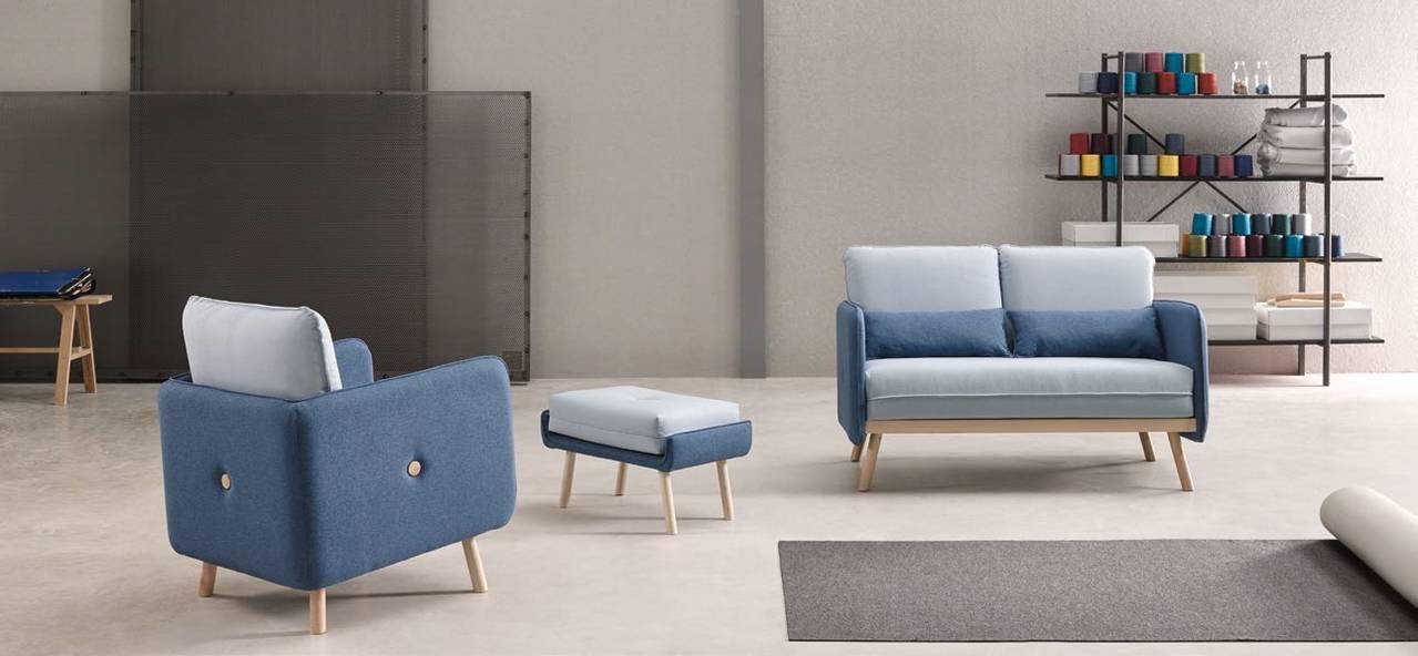 Sillón y sofá de 2 plazas con estructura vista