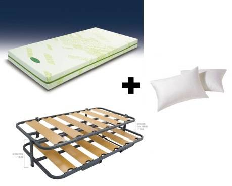 Pack matalàs visco-gel + somier cangur + coixins fibra