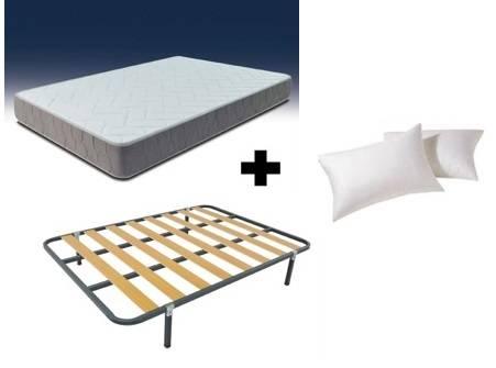 Pack colchón visco-gel + somier + almohadas fibra