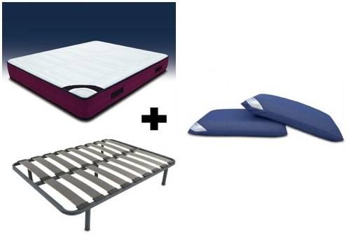 Pack colchón visco-gel + somier + patas + almohadas visco air