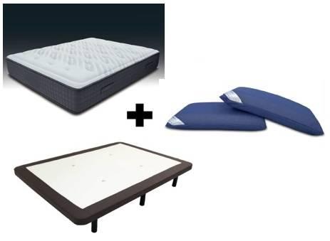 Pack colchón viscografeno + tapi transpirable polipiel + patas + almohadas visco air.