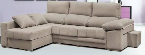 Sofà amb chaise-longue i 2 pufs