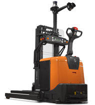 Carretilla con sistema de automatización de pallet o apilador para operaciones repetitivas de aplidas y transporte horizontal